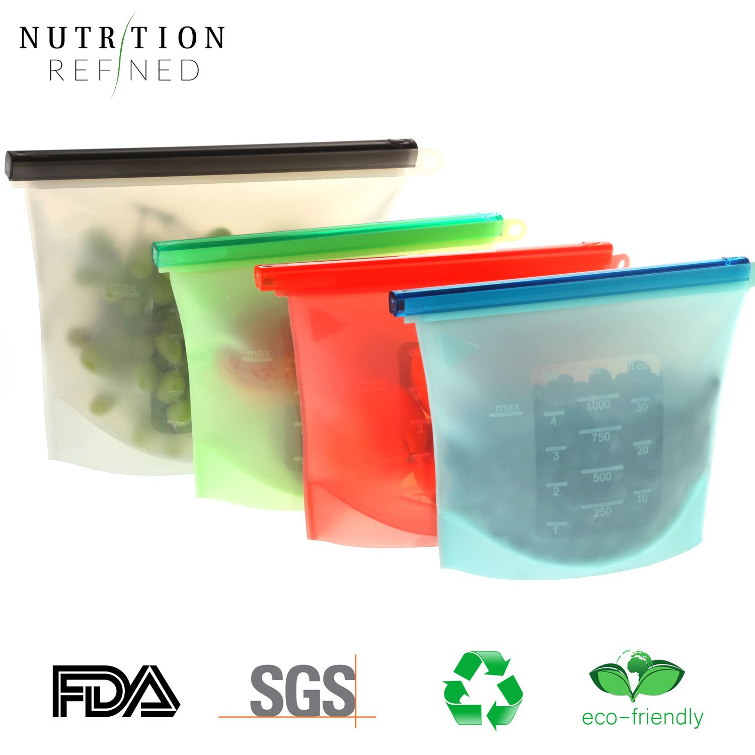 Amazon.com - Reusable Silicone Food Storage Bags - Resealable ... 3b34c3288a740