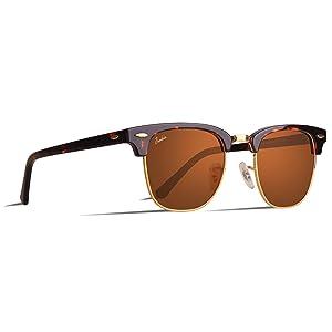 Berikin サングラス 偏光 ブロー サーモント べっこう ブラウンレンズ ハーフフレーム ゴールド 金 クラシック ユニセックス メンズ レディース UV400 sunglass for men women