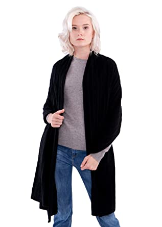 424b677c9fe LEBAC 100% Cashmere Cable Knit Wrap Shawl Extra Large Scarf (78 quot  X  23 quot