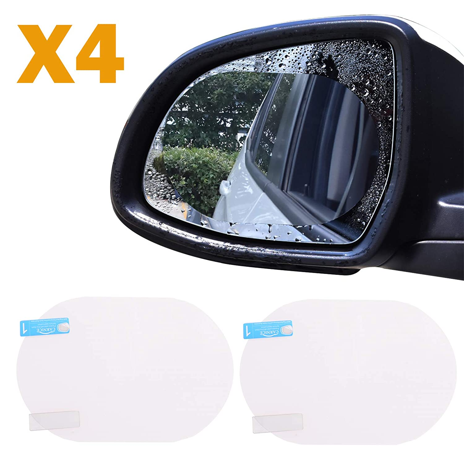 Voilamart 4PCs Car Rearview Mirror Rainproof Film, High Transmittance Clear Screen Waterproof Protective Sticker Film for Anti Fog Anti Mist- Soft Oval