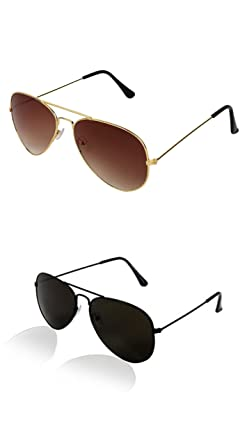 ad44346d370 Image Unavailable. Image not available for. Colour  SHEOMY COMBO OF STYLISH  BLACK AVIATOR AND GOLDEN BROWN AVIATOR SUNGLASSES WITH 2 ...