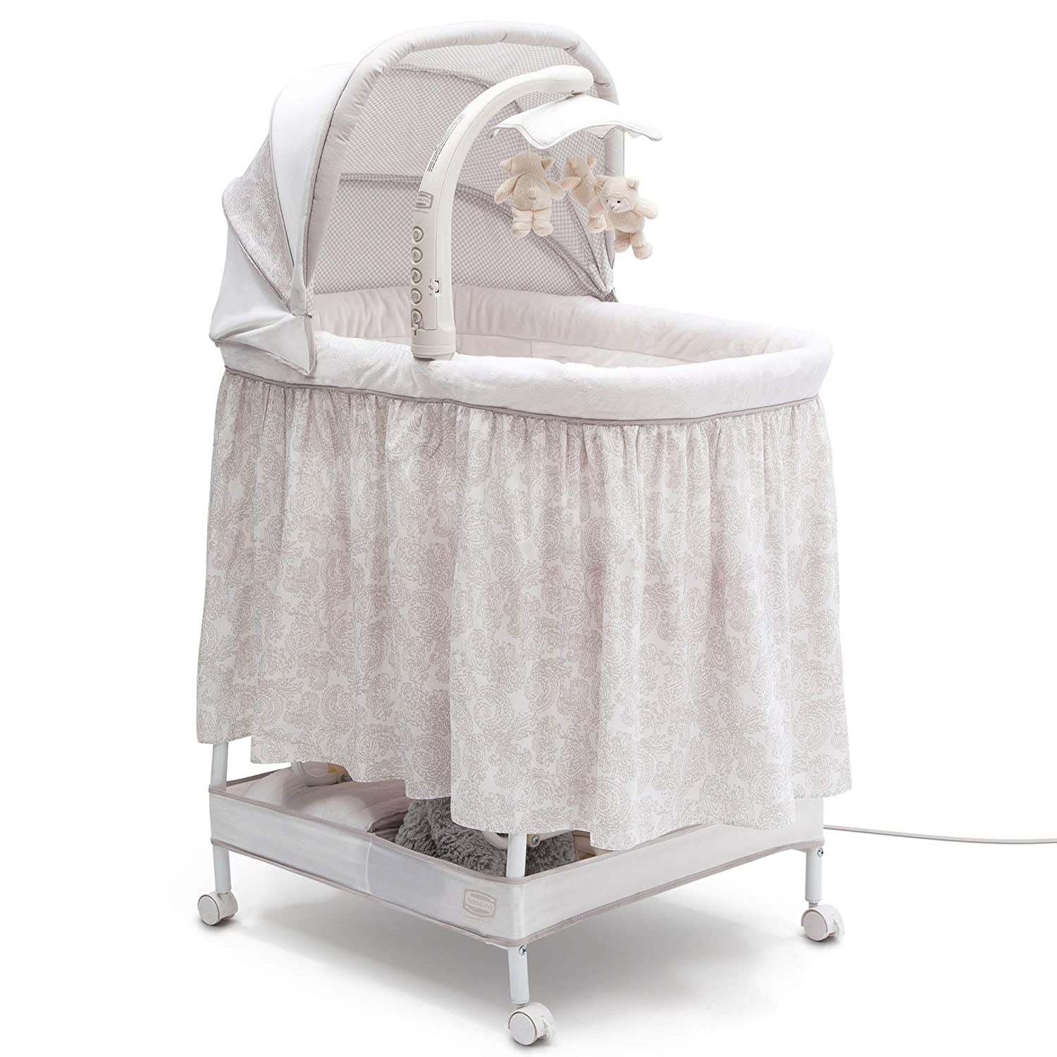 Simmons Kids Silent Auto Gliding Deluxe Bassinet Embossed Paisley, Ivory with Taupe Delta Enterprise Corp - PLA 701305-2282