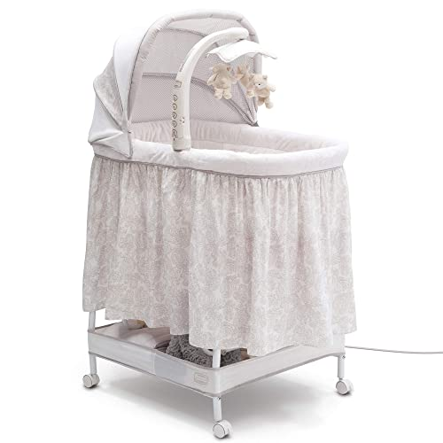 Simmons Kids Deluxe Hands-Free Auto-Glide Bedside Bassinet – Portable Crib Features Silent, Smooth Gliding Motion That Soothes Baby, Embossed Paisley