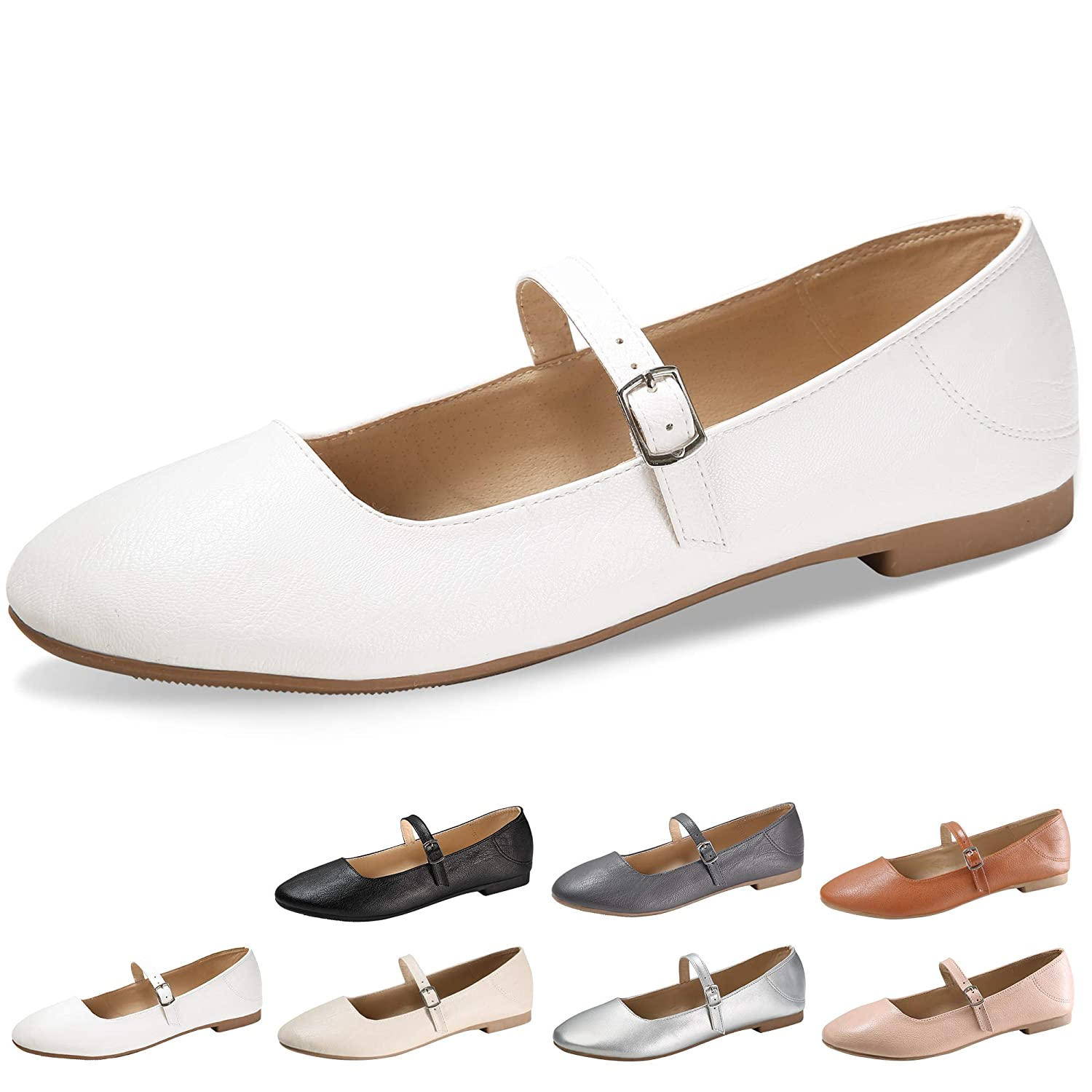 Women's Vintage Shoes & Boots to Buy CINAK Flats Mary Jane Shoes Womens Casual Comfortable Walking Classic Buckle Ankle Strap Style Ballet Slip On $21.99 AT vintagedancer.com