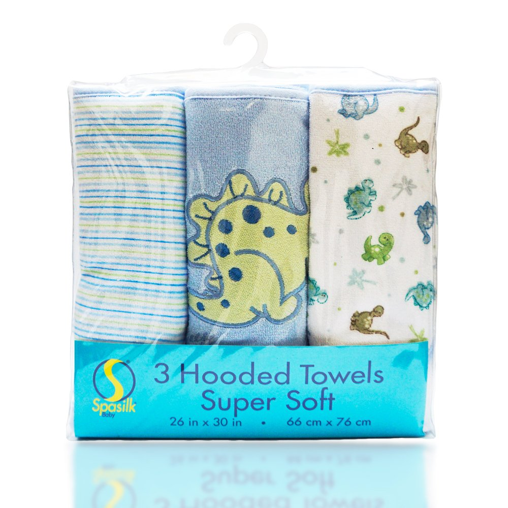 Spasilk Soft Terry Hooded Towel Set, Blue Dino, 3-Count 301-008