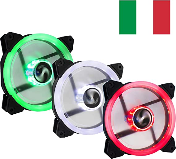 Suranus Kit 3 Ventiladores pc 120 mm LED Verde Blanco Rojo Bandera Italiana Italia 12 cm Juego 3 x Ventilador Pack: Amazon.es: Electrónica