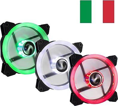 Suranus Kit 3 Ventiladores pc 120 mm LED Verde Blanco Rojo ...