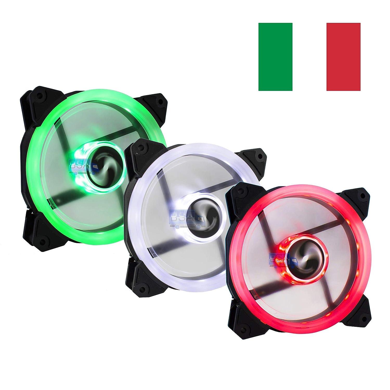 Suranus Kit 3Ventilateurs PC 120mm LED Vert Blanc Rouge Drapeau Italien Italie 12cm Set 3x Ventilateur Pack .