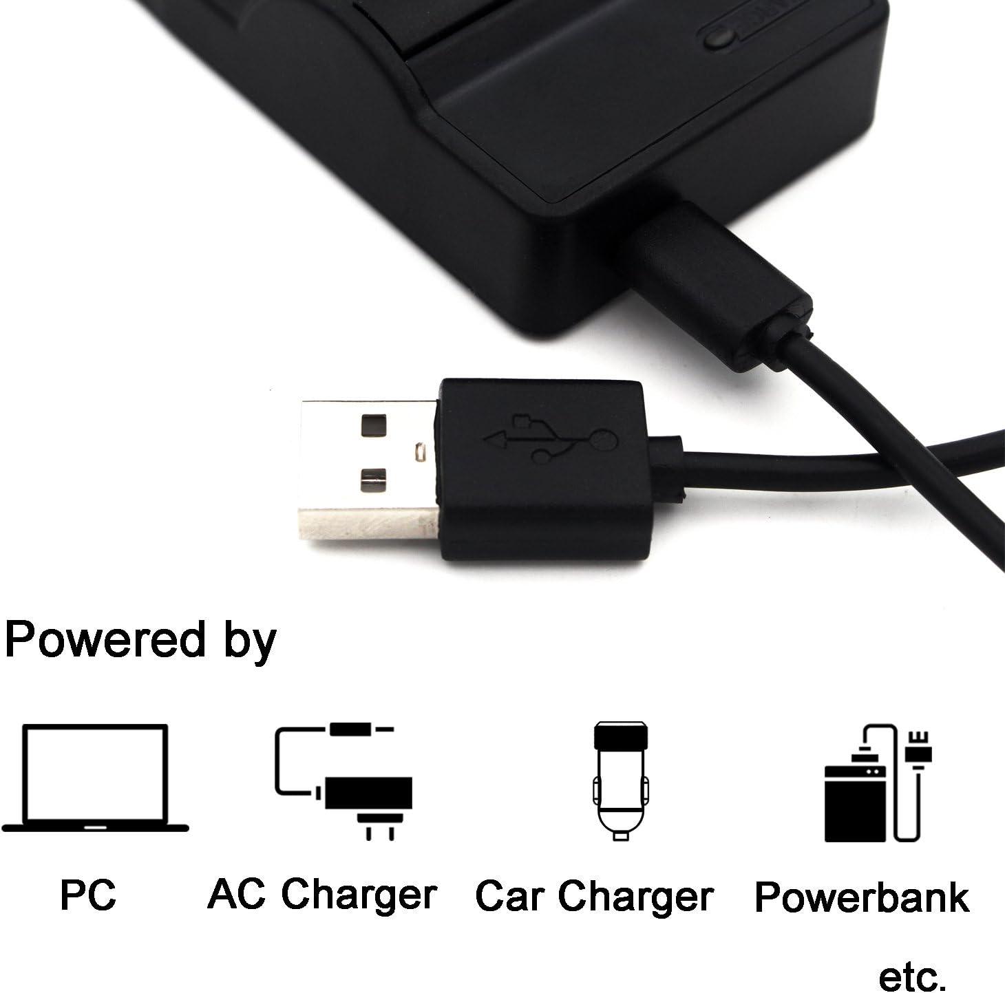 VPC-HD1010 DMX-HD2000 DMX-TH1 VPC-HD1000 VPC-TH1 DMX-HD1010 DMX-HD1000 VPC-HD2000 VPC-TH2 DMX-WH1 VPC-WH1 bater/ía de la c/ámara y M/ás DB-L50 USB Cargador para Sanyo Xacti DMX-FH11