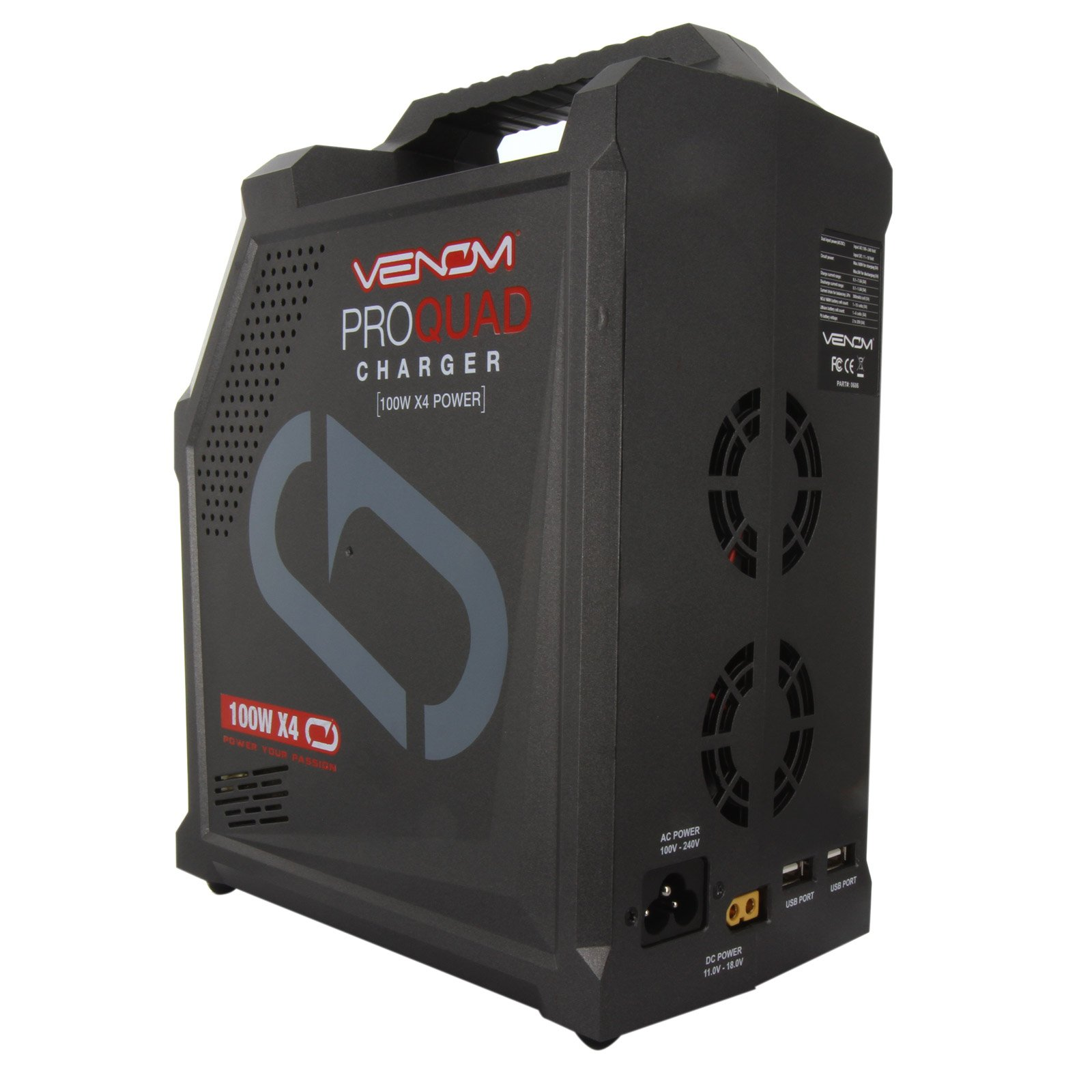 Venom Pro Quad 400 Watt (100W x 4) 7 Amp 4-Port AC/DC Multi-Chemistry LiPo, LiHV, NiMH Battery Balance Charger with Two 5V 2.3A USB Outputs with XT60, Deans, HXT, Tamiya, EC3, JST by Venom RC (Image #4)
