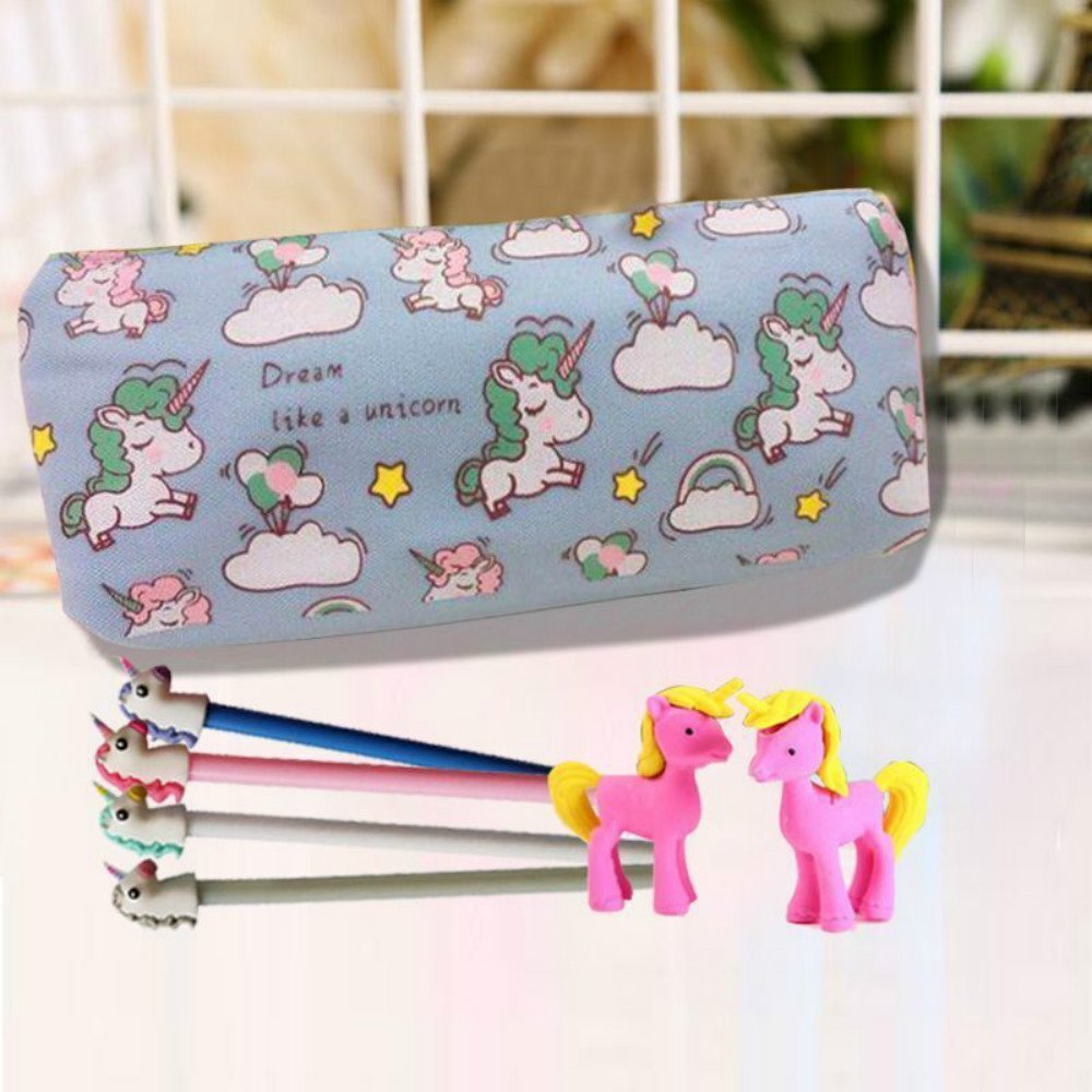 BHYGJ Blue Unicorn Canvas Pencil Case School Stationery, Suitable For Students, Teenagers And Girls