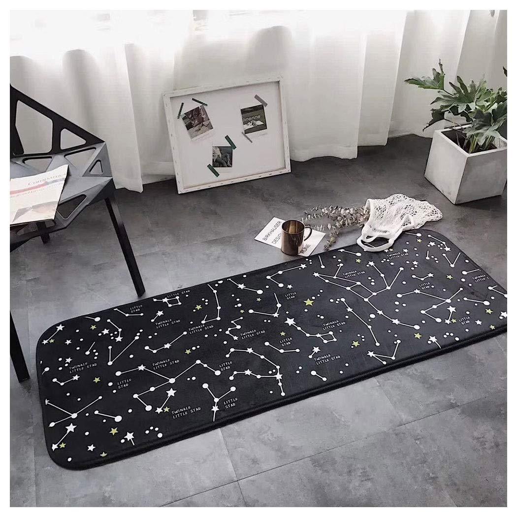 AXIANQIMat Bathroom Obstacle Mat Heavy Non-Slip Hard Protective Mat Black Constellation Kitchen Long Bedroom Mat 170cm (Color : Black, Size : 50150cm)