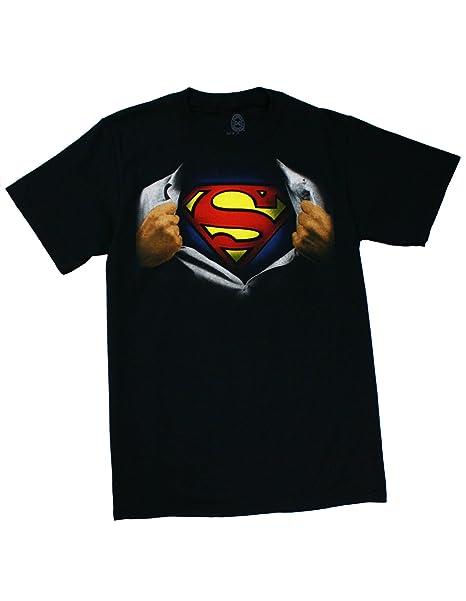 47640b07 Amazon.com: Superman Ripping Open Shirt Adult Black T-Shirt (Adult ...