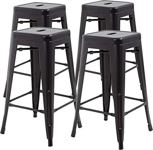 30 Inches Metal Bar Stools Set of 4 Counter Height Barstools Stackable Metal Chairs High Backless Dining Stool Bar Chair