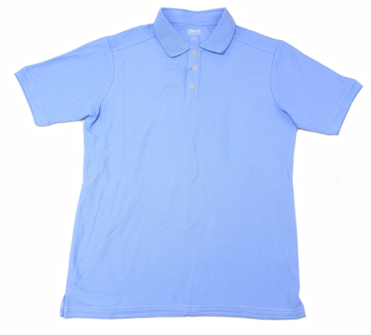Light Blue Kirkland Signature Mens Medium Pique Polo