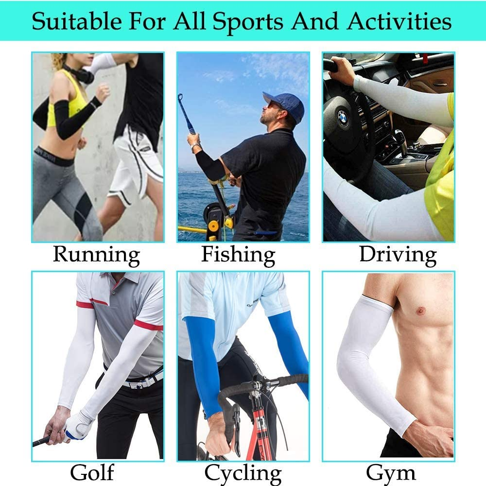 Cycling Baseball ZeeDix 8 Pairs Sun Long Sleeves UV Protection Cooling Arm Sleeves-Thumb Hole Sun Sleeves Cover for Running Hiking,Golf Outdoors Sports Gardening Biking