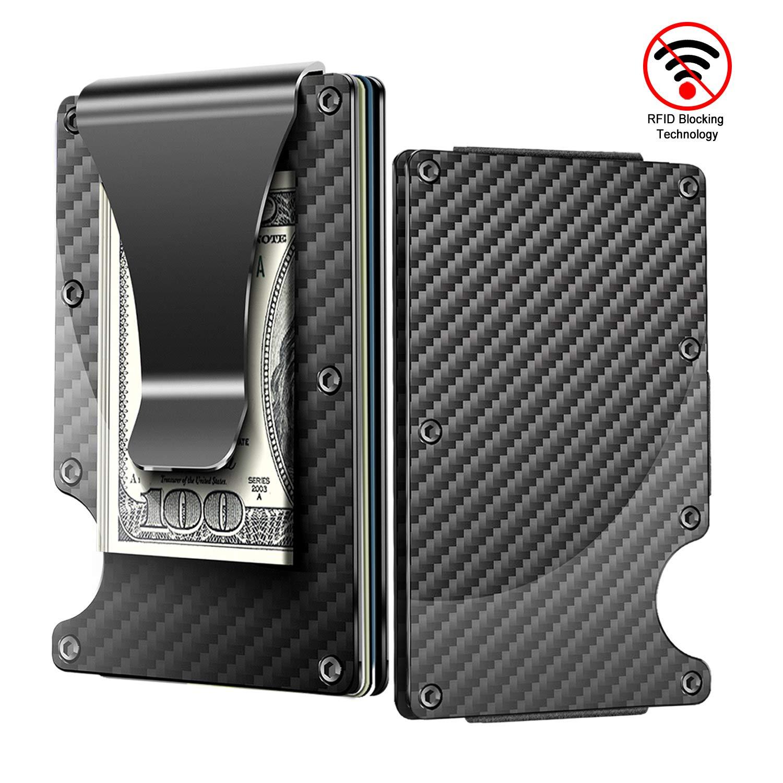 Money Clip Slim Wallet, Minimalist Wallet, Men's&Women's Carbon Fiber Card Case