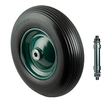 Rueda de poliuretano 400 mm con eje, 180 kg para carretilla de rueda de carretilla