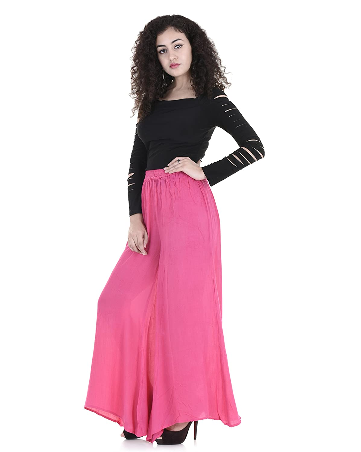 489a90c069 REAL LADY Stretchable Designer Plain Poly Casual Wear Pink Palazzo Pant for Women's  Girls-PL05: Amazon.in: Clothing & Accessories