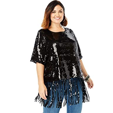 4283ab546248c Roamans Women s Plus Size Sequin Fringe Tee at Amazon Women s Clothing store