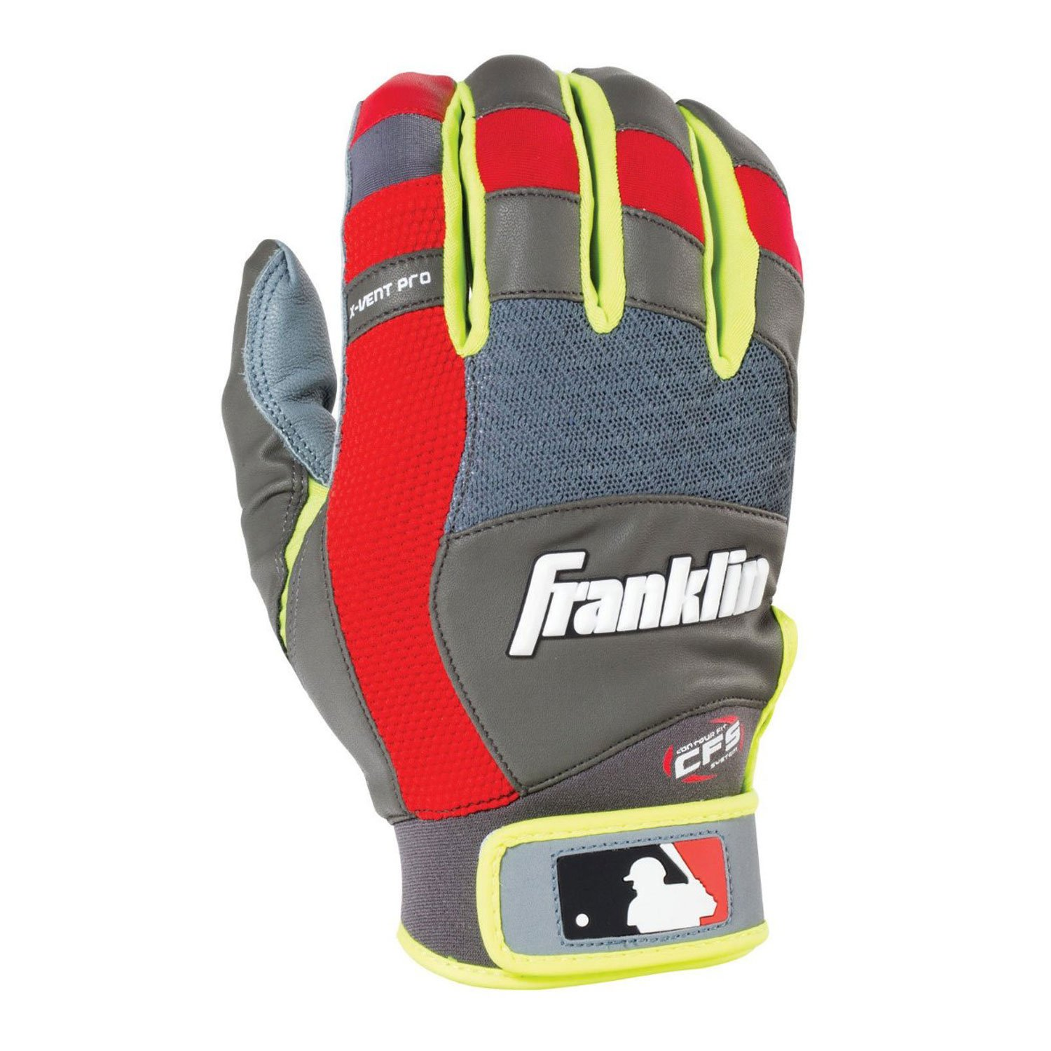 Franklin Sports MLB X-Vent プロバッティンググローブ ペア B013LPUC26 XL|Gray/Red/Optic Yellow Gray/Red/Optic Yellow XL