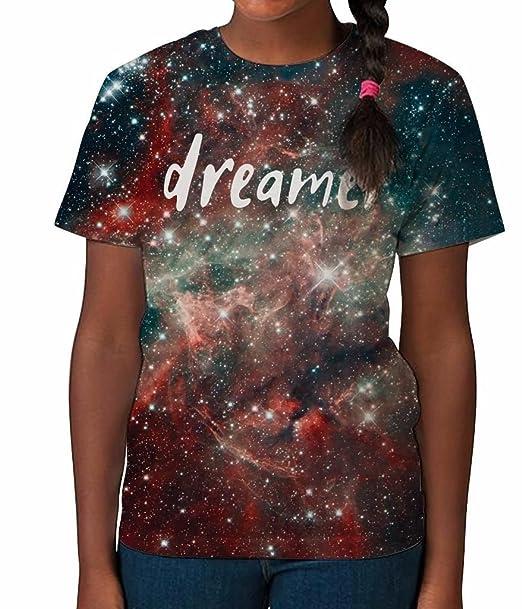 19a92dfb0 Camiseta para Niños en Impresión Total Eslogan Galaxia Dreamer Space  Vestidos de Verano para Chicas Top Impreso  Amazon.es  Ropa y accesorios