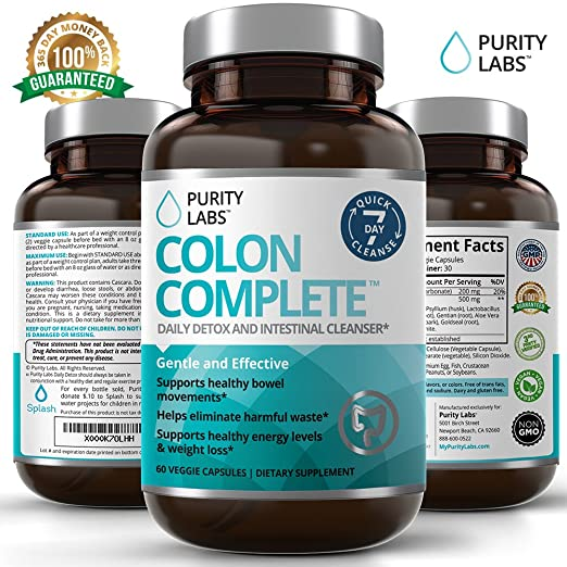PurityLabs Colon Complete Cleanse and Detox - Ultimate Super Cleansing Weight Loss and Natural Belly Fat Burner, 60 Veggie Capsules