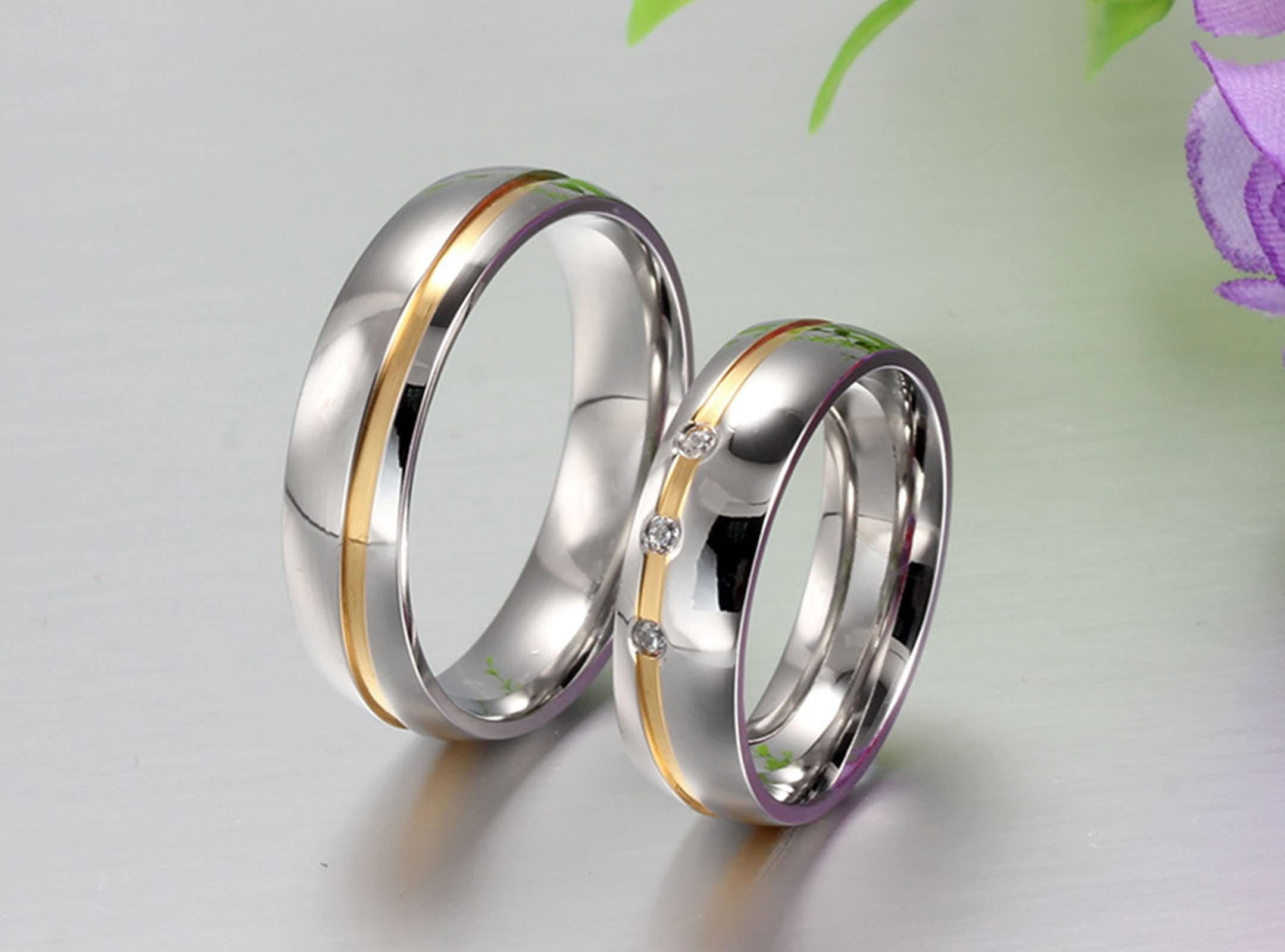 Beydodo Titanium Rings Set for Women Stainless Steel Ring Bands Round CZ Women Size 7 & Men Size 12 by Beydodo (Image #3)