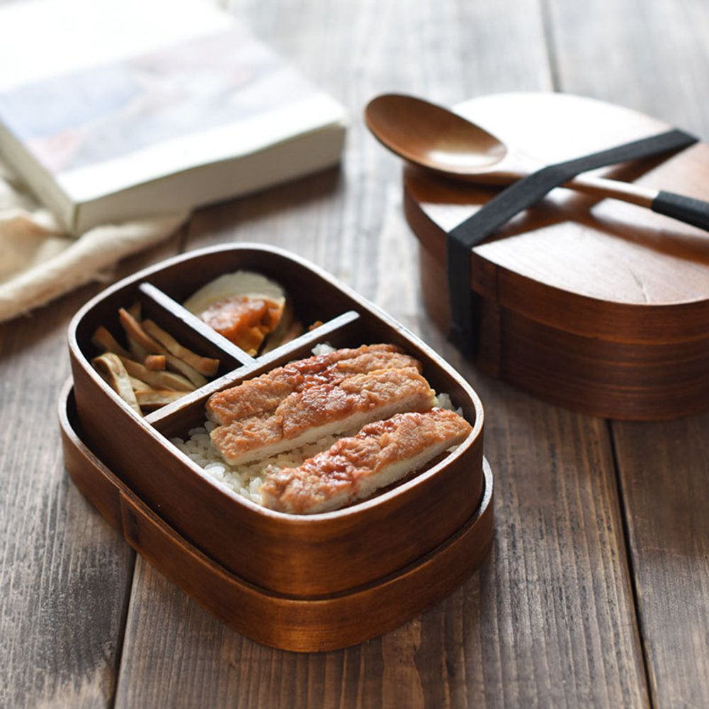 Fiambrera de estilo japon/és de madera con forma ovalada y tapa para picnic oficina escuela /Óvalo camping Hebudy Bento