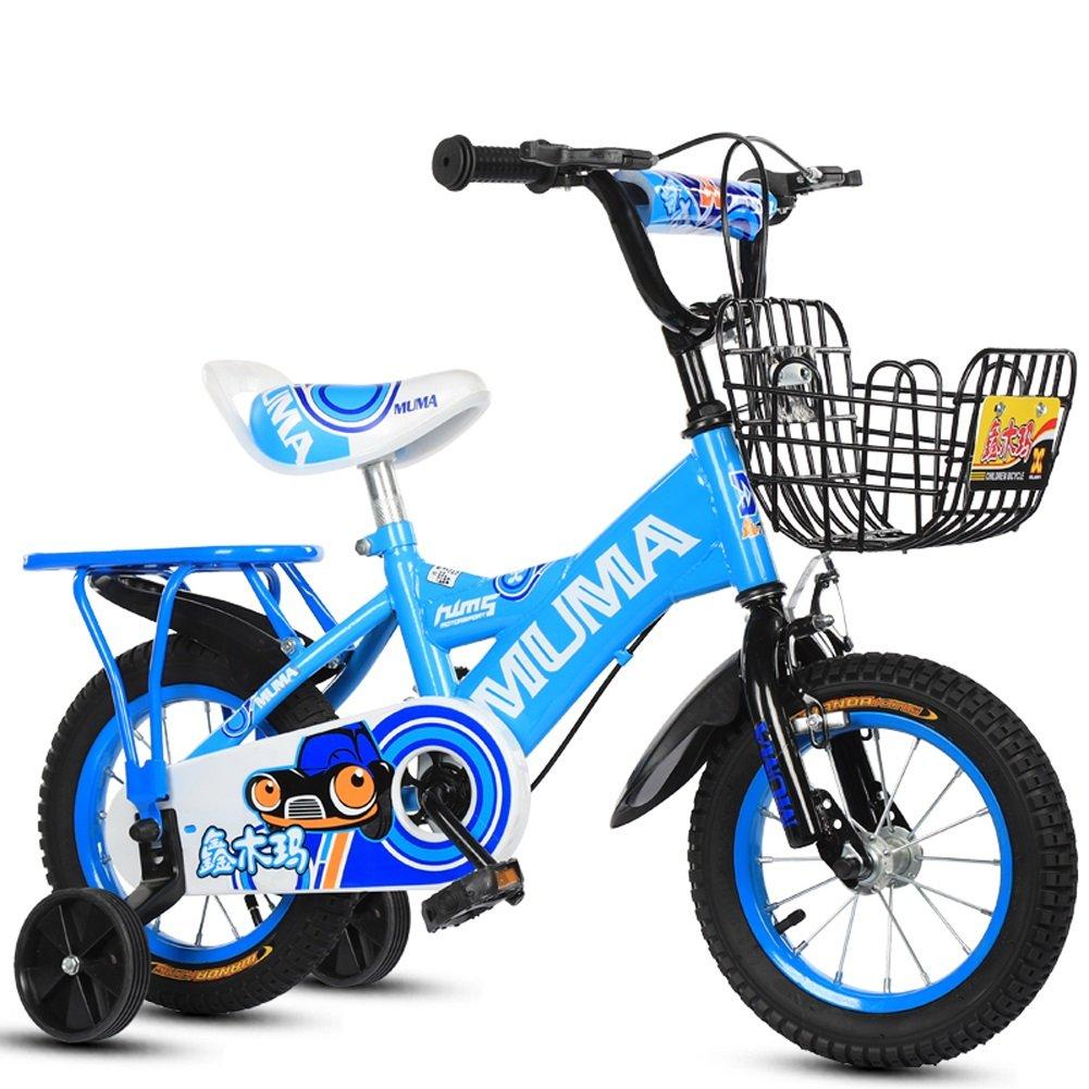 Mariny 子供の自転車2-4-6歳の6-7-8歳の子供の自転車ベビーキャリッジの少年少女自転車のトレーニングホイール (色 : 青, サイズ さいず : 16
