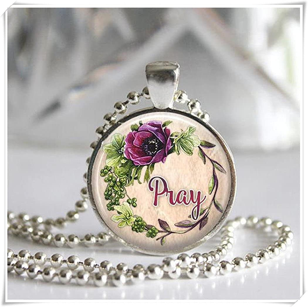 amazon com pray glass tile pendant inspirational jewelry art rh amazon com