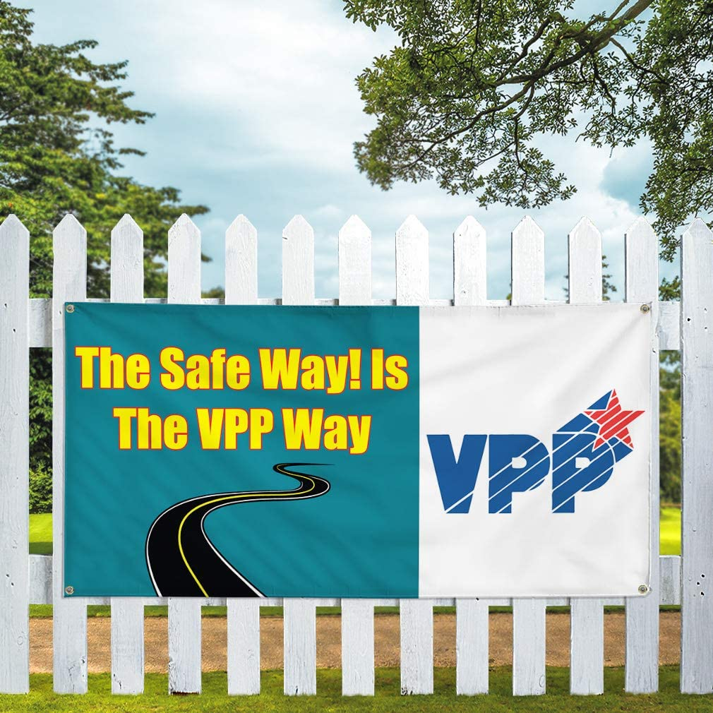 Vinyl Banner Sign The Safe Way Set of 2 is The Vpp Way #1 Style A Marketing Advertising Yellow 32inx80in Multiple Sizes Available 6 Grommets