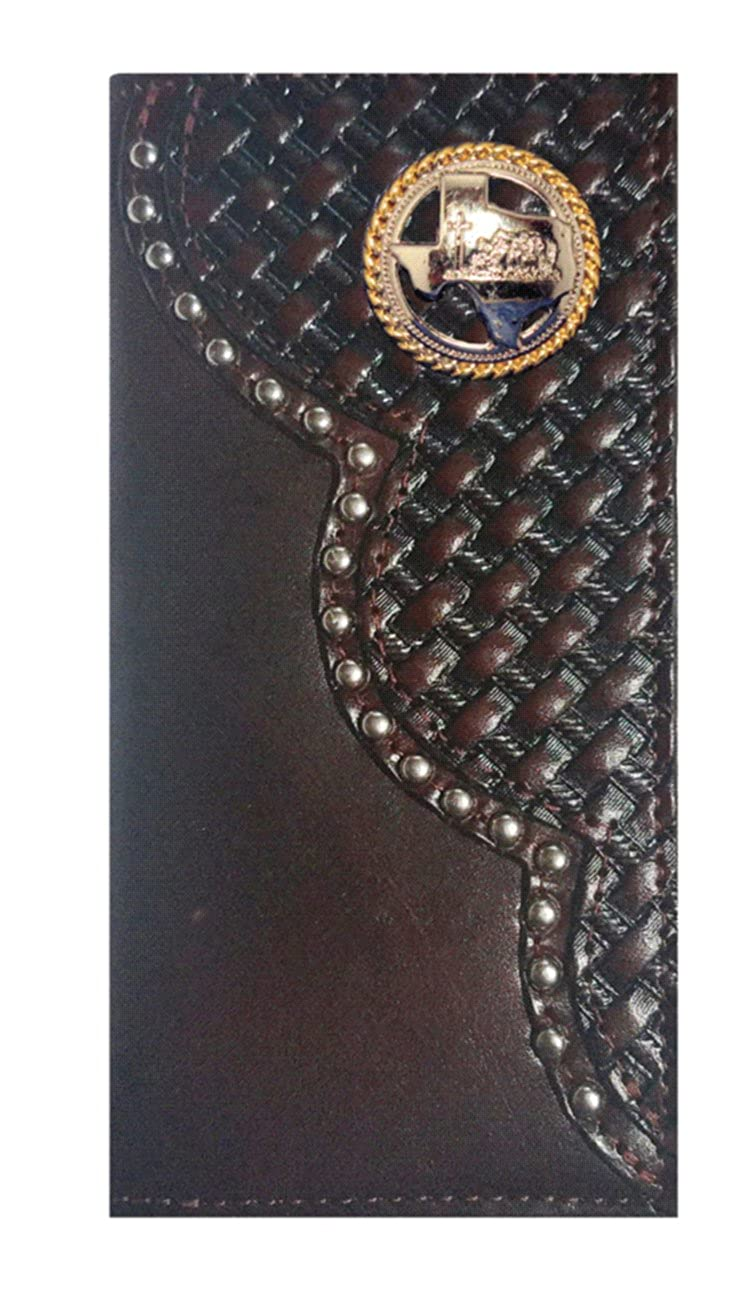 Custom Black Cherry Texas Praying Cowboy Church Basket Weave Long Leather Checkbook Wallet Proudly MADE IN THE USA