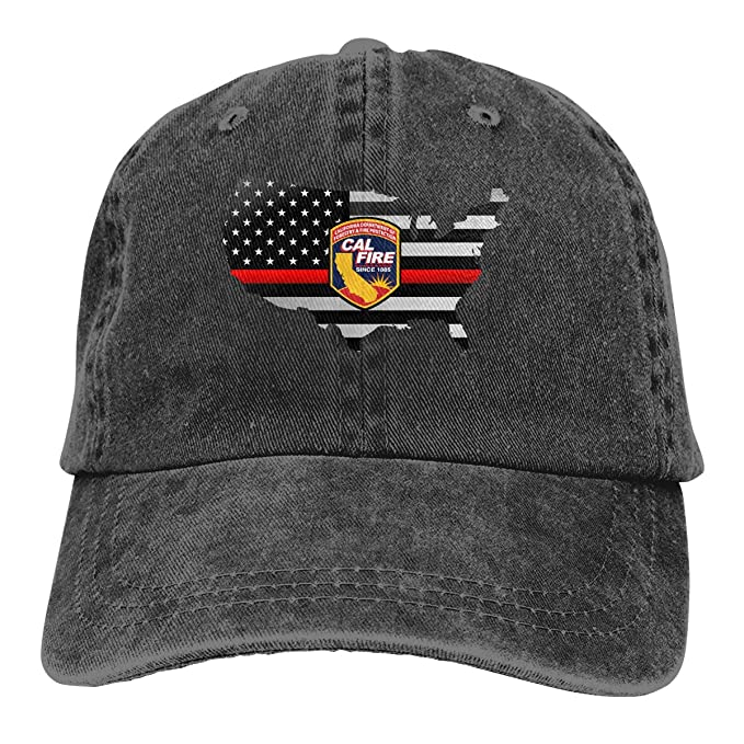 69a3d636c90 Cal Fire California Strong Thin Red Line Flag Denim Hats Adjustable Baseball  Cap Dad Hats at Amazon Men s Clothing store