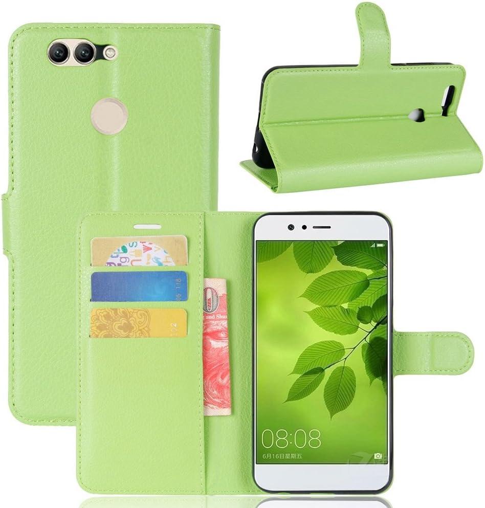 Guran® Funda de Cuero PU Para Huawei Nova 2 Plus Smartphone Función de Soporte con Ranura para Tarjetas Flip Case Cover Caso-verde: Amazon.es: Electrónica