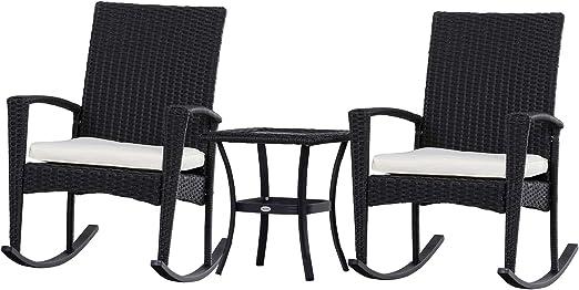 Outsunny Gartensitzgruppe 3-tlg Sitzgarnitur Beistelltisch Polyrattan Stahl