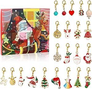 Jesdoo Christmas Advent Calendars 2020, DIY Bracelet Necklace Fashion Jewelry Set, Advent Countdown Calendar Gift Box Advent Gold Bracelet Necklace Set, DIY Bracelet Necklace with 22 Pendants (A)