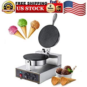 Ice Cream Machines,100V Electric Ice Cream Waffle Cone Maker Stainless Steel Nonstick Electric Egg Biscuit Roll Maker Machine Bake Machine Baker Pastry Making Baking Tools Electric Egg Roll Ice Cream Cone Maker, USA STOCK