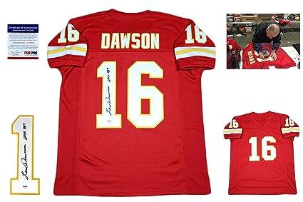 san francisco 521ff 03769 Len Dawson Signed Custom Jersey - PSA/DNA - Autographed w/ Photo - Red