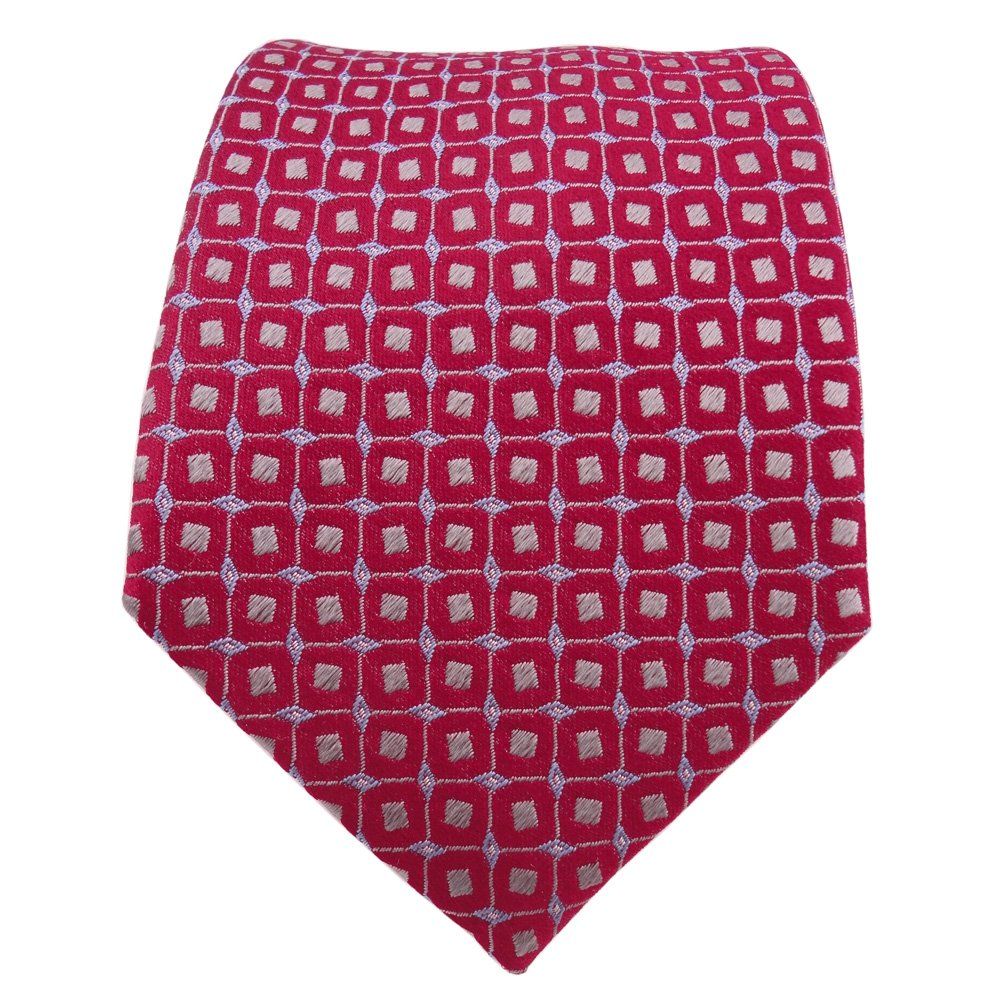 Diseñador corbata de seda - rojo azul gris plata lunares: Amazon ...
