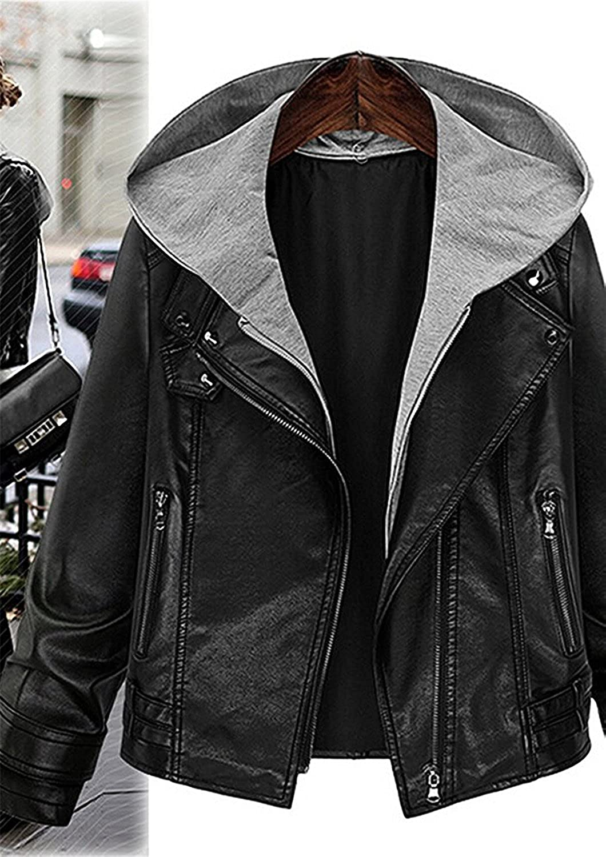 Bikifree Fashion Womens Stylish Layered Moto Faux Leather Jacket, Ladys Short Zip Up Hooded Faux Leather Coat at Amazon Womens Coats Shop