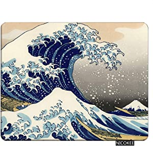 NICOKEE Ocean Rectangle Gaming Mousepad Japanese The Great Wave Off Kanagawa Pattern Mouse Pad Mouse Mat for Computer Desk Laptop Office 9.5 X 7.9 Inch Non-Slip Rubber