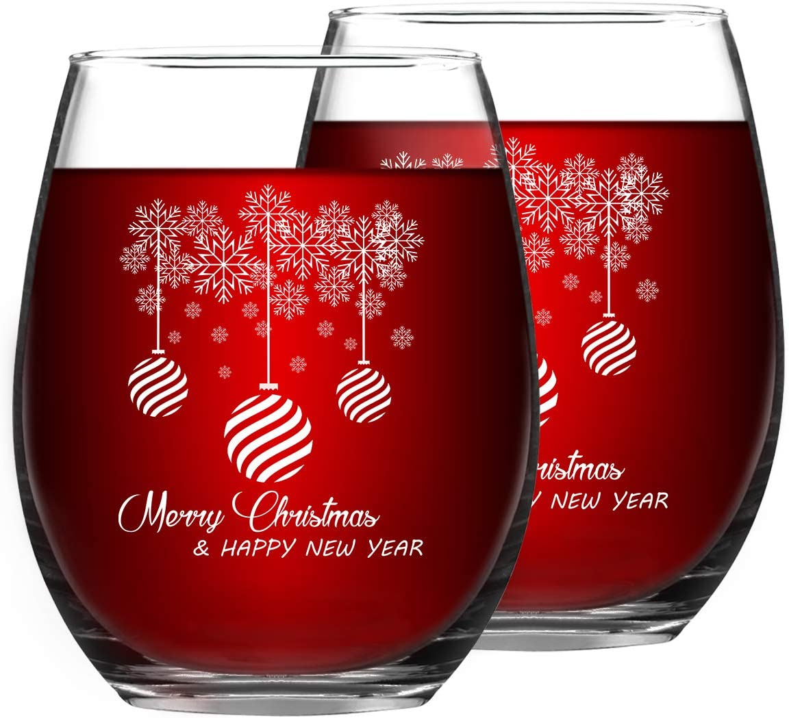 Merry Christmas and Happy New Year Stemless Wine Glass Set, 15 Oz Funny Stemless Wine Glasses for Women Friends Men, Gift Idea for Christmas Wedding Party, Set of 2