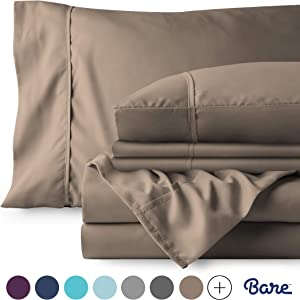 Bare Home 4 Piece 1800 Deep Pocket Bed Sheet Set - Twin Extra Long - Ultra-Soft Hypoallergenic - 2 Pillowcases (Twin XL, Taupe)