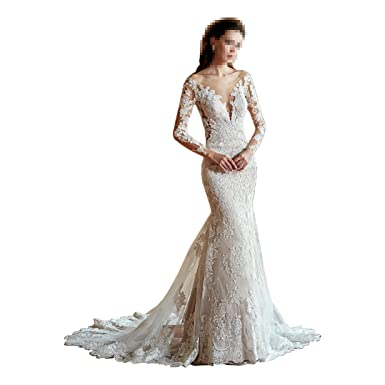 b65377e025d5 DingDingMail Elegant Lace Mermaid Wedding Dresses 2019 Illusion Long Sleeves  Backless Vintage Bridal Gowns at Amazon Women's Clothing store: