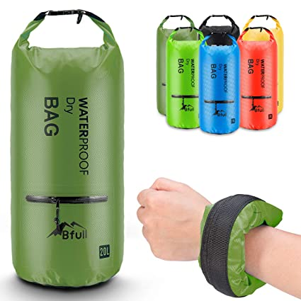 BFULL Waterproof Dry Bag 10L 20L  Lightweight Compact  Roll Top Water Proof  Backpack 2 Exterior Zip Pocket Kayaking 490d6bb57abd7