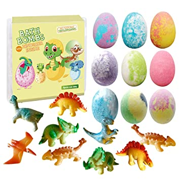 Toy Filled with Learning Cards Christmas Gifts for Girls /& Boys Kids Bath Bombs /& Toys Inside Dino Hatch Bath Bombs for Kids with Surprise Dino Capsule Inside Dinosaur in Each Fizzy