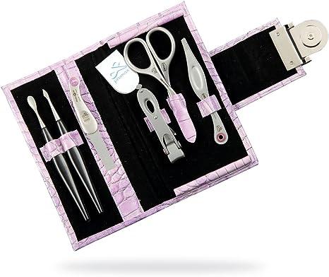 Kit de manicura Classica con 6 accesorios niquelados de acero al carbono zurdo en un estuche de cuero de color rosa: Amazon.es: Belleza