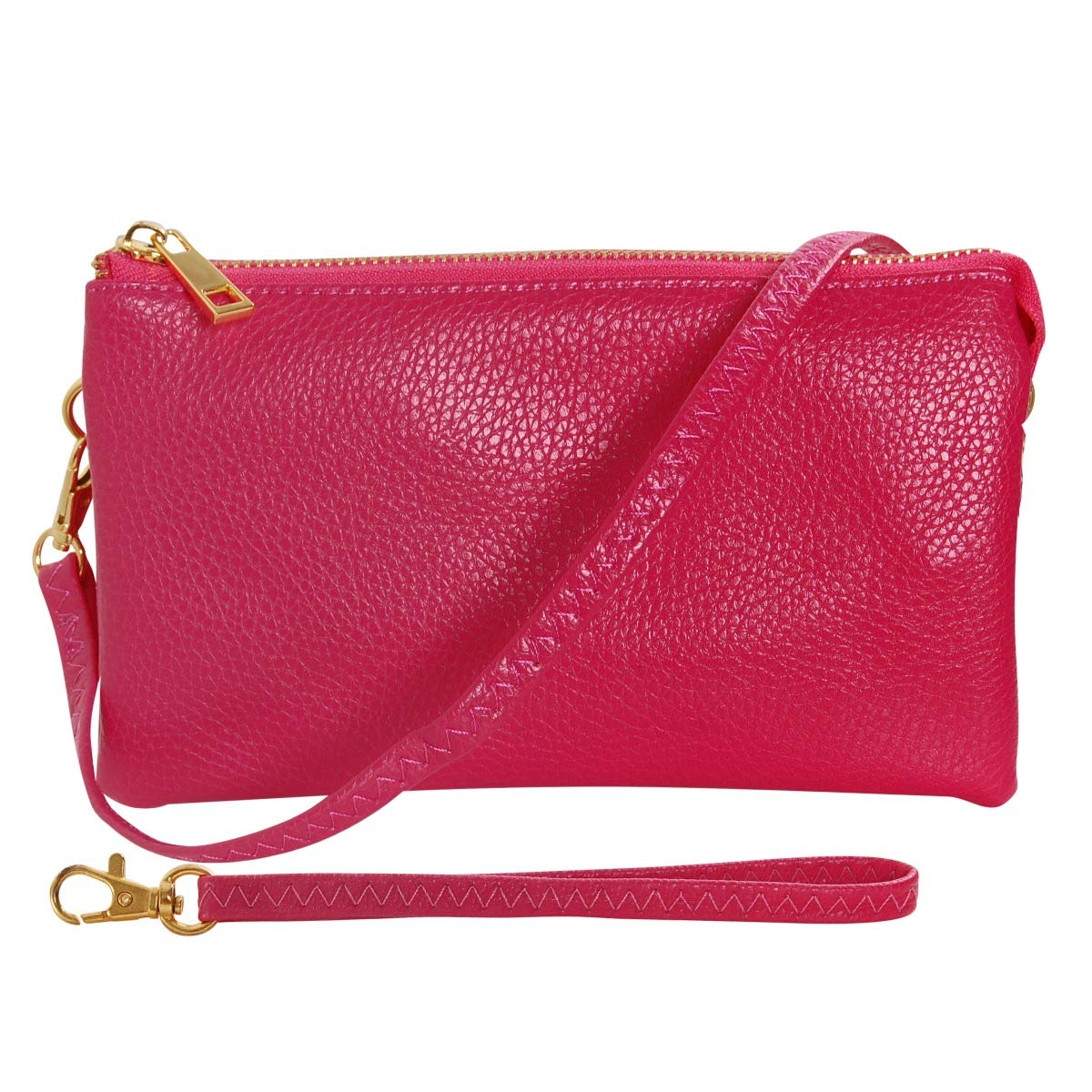 Humble Chic Vegan Leather Wristlet Clutch or Small Purse Crossbody Bag Includes Adjustable Shoulder and Wrist Straps