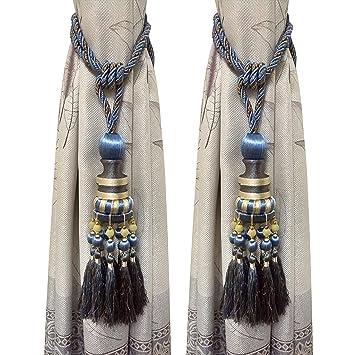 BTSKY - Par de alzapaños con borlas, de estilo europeo, para cortinas, con